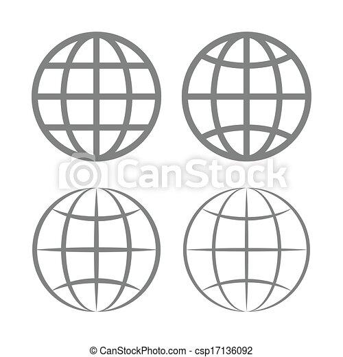 globo terra, vettore, emblema, set. - csp17136092