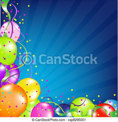 globos, cumpleaños, sunburst, plano de fondo - csp8295001