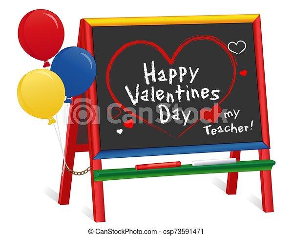 globos, mi, día, pizarra, profesor, amor, valentines, caballete, niños - csp73591471
