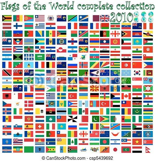 globos, mundo, banderas, tierra - csp5439692