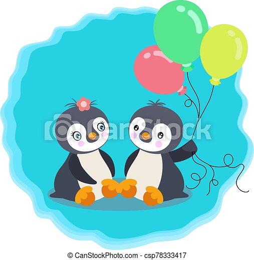 globos, pingüinos, lindo, pareja - csp78333417