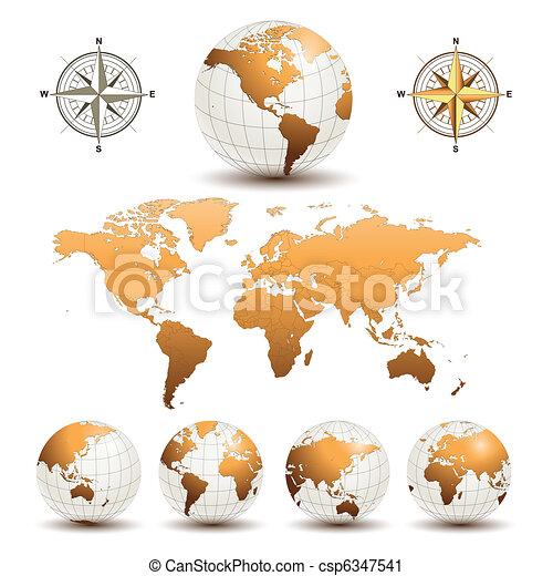 Globos terrestres con mapa mundial - csp6347541