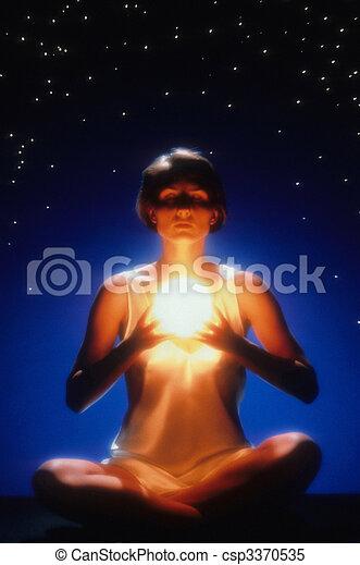 gloeiend, vrouw, meditatie, bal - csp3370535