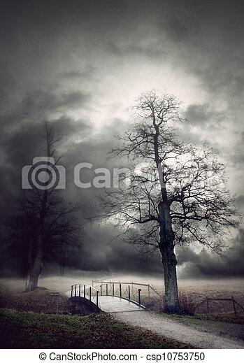 Gloomy autumn landscape - csp10753750