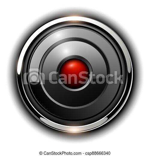Glossy 3D button, silver chrome metallic - csp88666340
