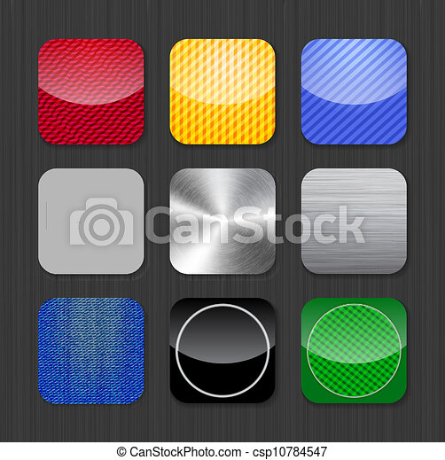 Glossy and metallic app icon templates - csp10784547