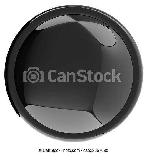Glossy black button - csp22367698