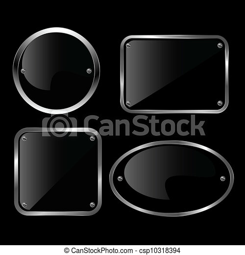 Glossy black plate set. Vector illu - csp10318394