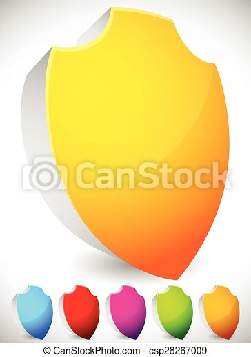 Glossy, blank 3D shield shapes. Several colors included. (Yellow, blue, red, green...) - csp28267009
