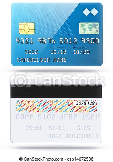 glossy blue credit card - csp14672508