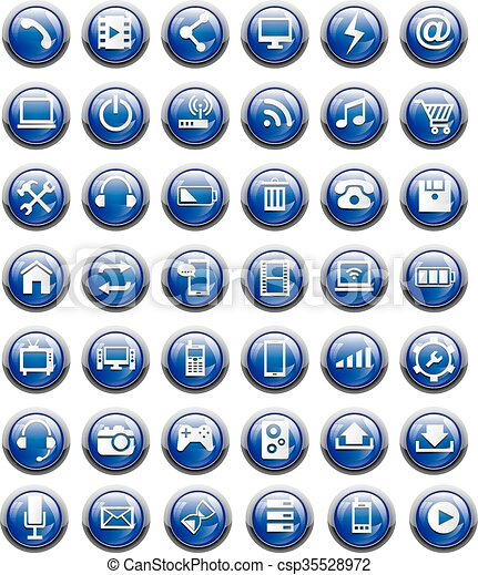 glossy button icon - csp35528972
