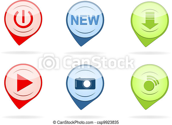 Glossy button icon set - csp9923835