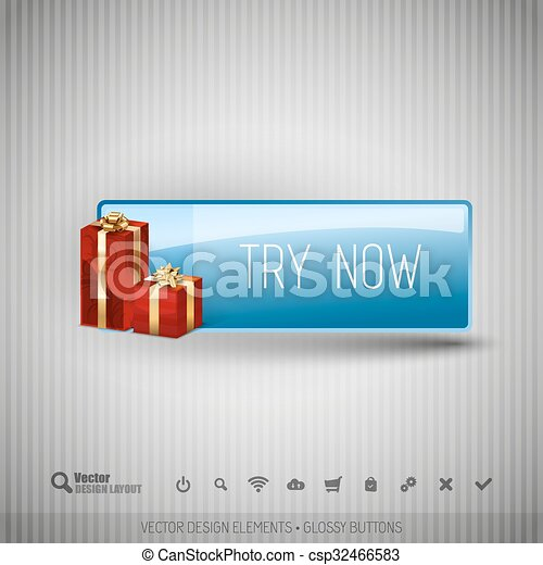 Glossy button with gifts. Winter christmas special collection. Vector design elements. - csp32466583