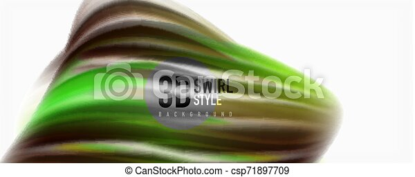 Glossy colorful liquid waves abstract background,, modern techno lines - csp71897709