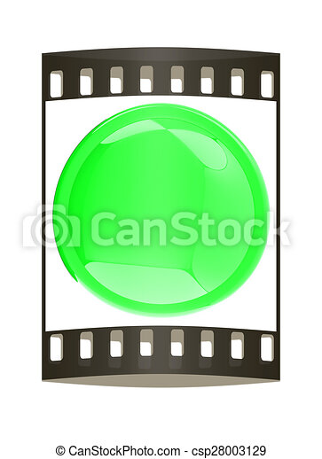 Glossy green button. The film strip - csp28003129