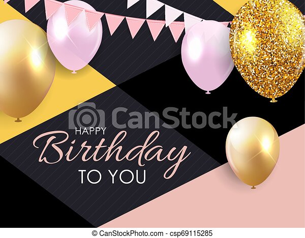 Glossy Happy Birthday Balloons Background Vector Illustration - csp69115285