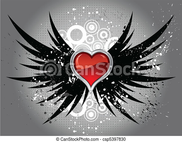 glossy heart on grunge wings  - csp5397830