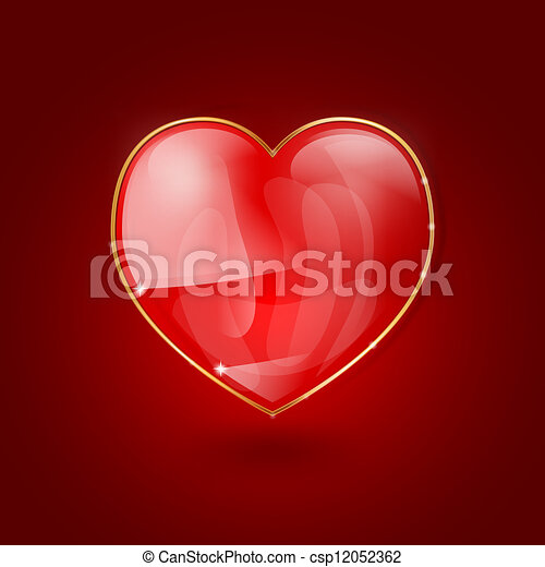 glossy heart on red background - csp12052362
