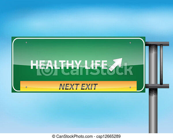 Glossy highway sign with Healthy Life - csp12665289