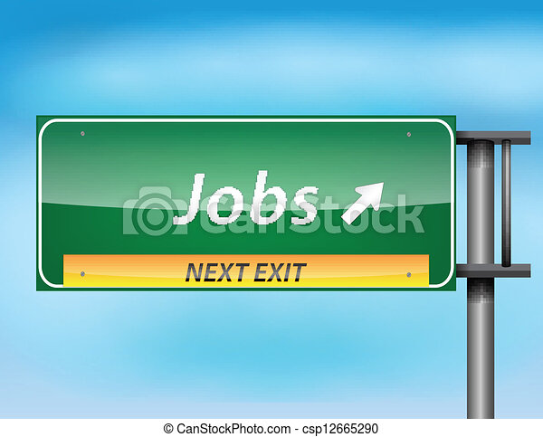 Glossy highway sign with Jobs on next exit - csp12665290