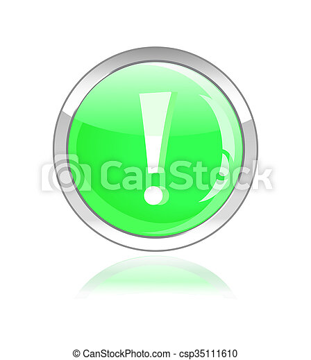 glossy icon with exclamation mark - csp35111610