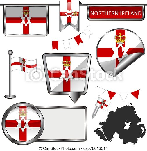 Glossy icons with flag of Northern Ireland - csp78613514