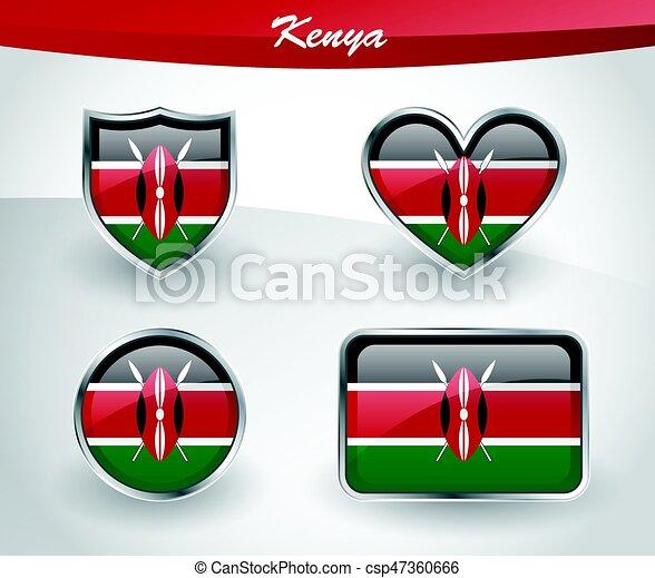 Glossy kenya flag icon set with shield, heart, circle and rectangle ...