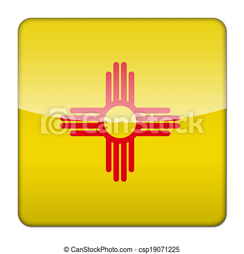 Glossy logo icon app flag of the US state of New Mexico - csp19071225
