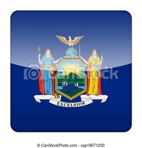 Glossy logo icon app flag of the US state of New York - csp19071230
