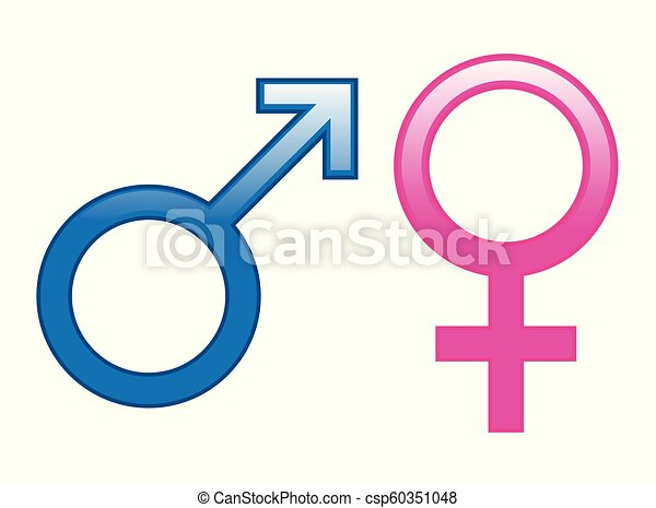 Glossy Male Female Symbols Glossy Male And Female Symbols In Blue