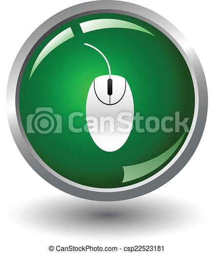Glossy Mouse Sign Icon Button - csp22523181