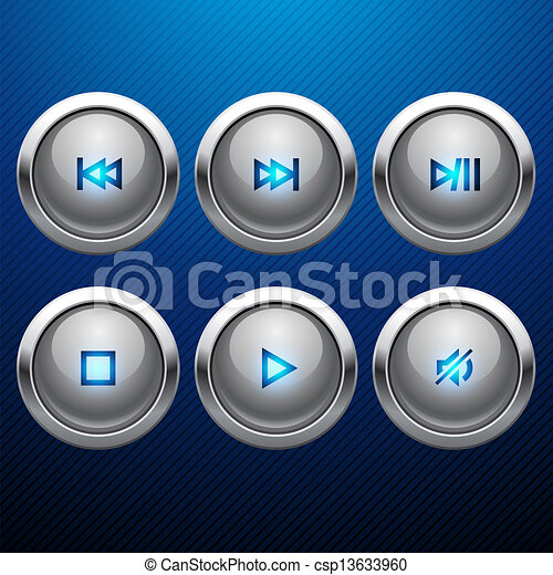 Glossy multimedia control web icon set. - csp13633960