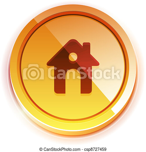 Glossy orange home button - csp8727459