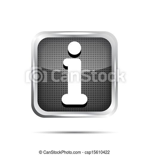 glossy round info icon button on a white background - csp15610422