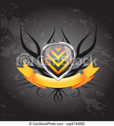 Glossy shield emblem on white background - csp9744892