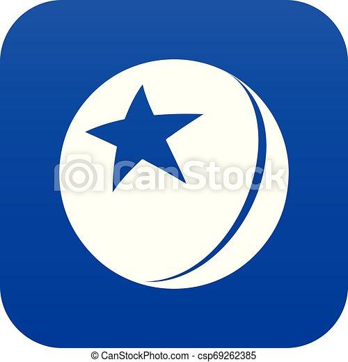 Glossy star ball icon blue vector - csp69262385