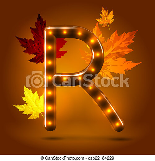 Glossy Stylish Sans Serif Lighted Capital R Letter With Falling Maple  Leaves Over Warm Caramel Candy Stock Illustration. Glossy stylish sans serif lighted capital R letter with    clip