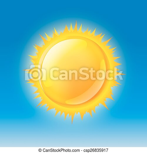 glossy sun on blue sky - csp26835917