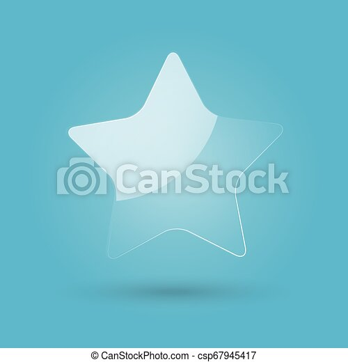 Glossy transparent star isolated on blue background. Web icon. Vector Illustration. - csp67945417