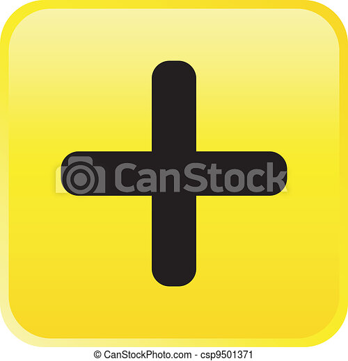 Glossy vector button - plus - csp9501371