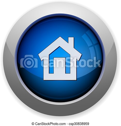 glossy web button blue home - csp30838959