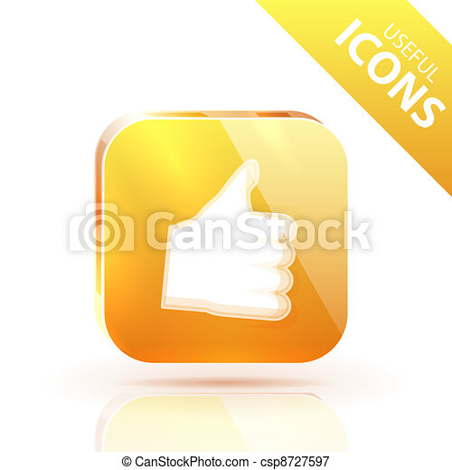 Glossy yellow orange metallic button - csp8727597