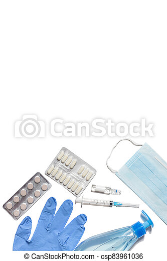 Gloves, syringe, mask, tablets and sanitizer on a white background. Means for the prevention and treatment of coronavirus. Covid-19, healthcare concept. - csp83961036