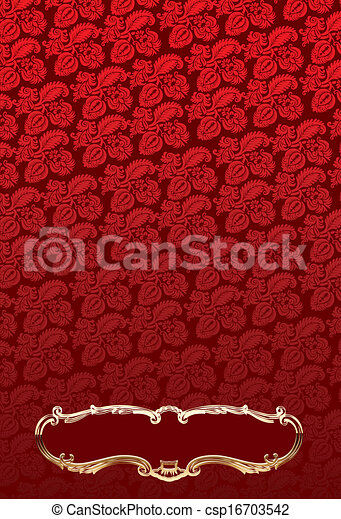 Glow Gold Antic Frames Over Red Decorate Wallpaper