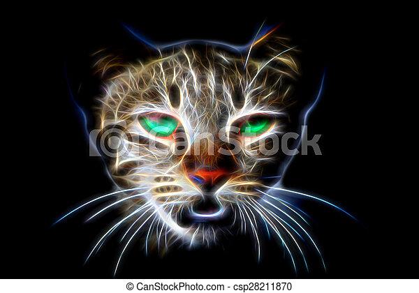 Glow image of Bengal cat in looking - csp28211870