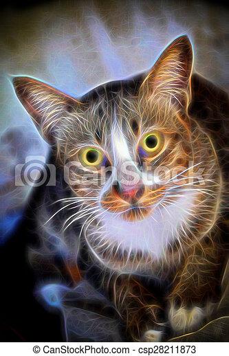 Glow image of Bengal cat in looking - csp28211873
