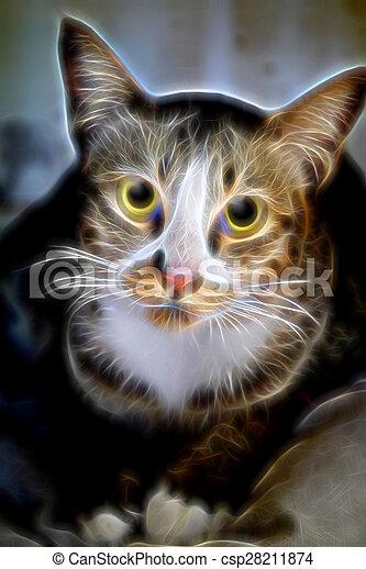 Glow image of Bengal cat in looking - csp28211874