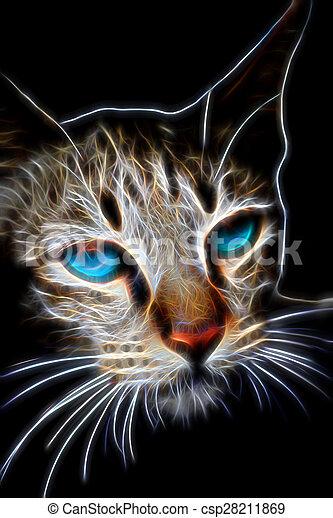 Glow image of Bengal cat in looking - csp28211869