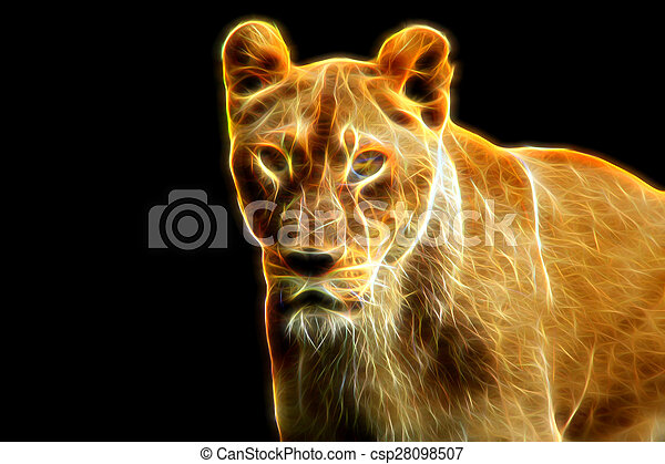 Glow image of female lion - csp28098507