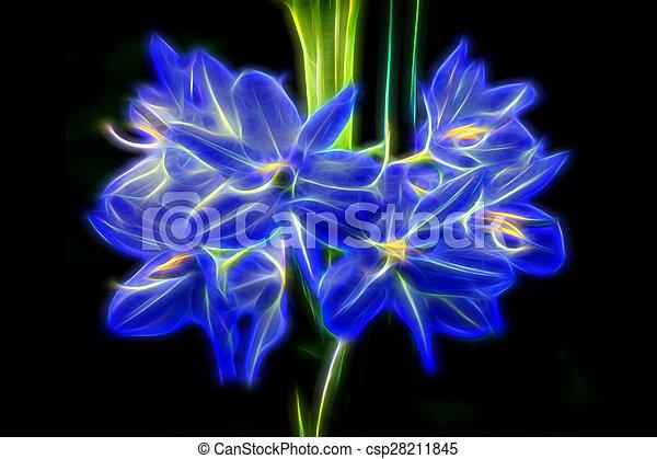 Glow Image Of Light Purple Flowers Of Monochoria Elata Ridl.   Csp28211845